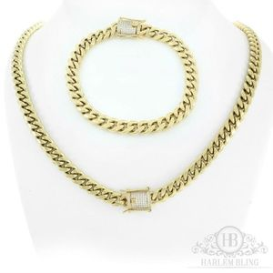Harlembling 14k Gold Diamond Bracelet & Chain Set